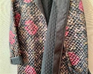 $50 -Jeanne Marc Collection black and floral quilted tie jacket.  Size L (16/18)