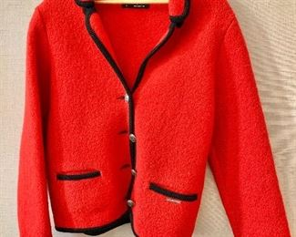 $40 - Geiger red with black trim boiled wool jacket.  Size EU40