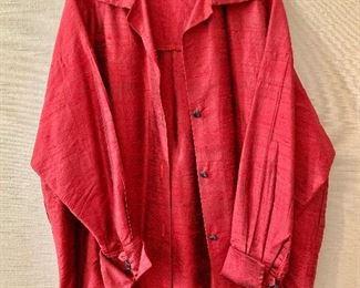 """$30 -Louis Simon for LA """"Libellule"""" deep red over shirt.  Estimated size XL"""