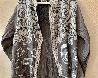 $45 - Harvbella handmade high quality polyester gray and cream jacket.  Size L.