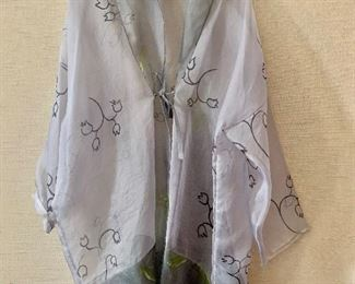 $50 - Julia Hill hand painted organza wrap.  Estimated size 1X.