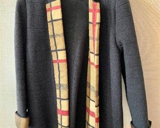 $60 -Lihli at Saks Fifth Avenue black with tan, red and black trim wool and rayon jacket.  Estimated size 1X/XL.