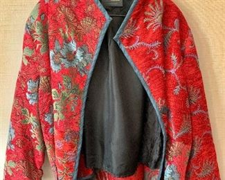 $50 - Mary Lynn O'Shea (designer/weaver) hand made  woven chenille red floral jacket.  Made in Vermont.  Size L.