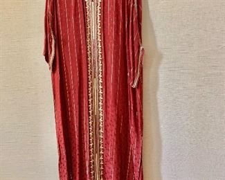 $30 - Burgundy with gold accents polyester caftan.  Estimated size M/L.
