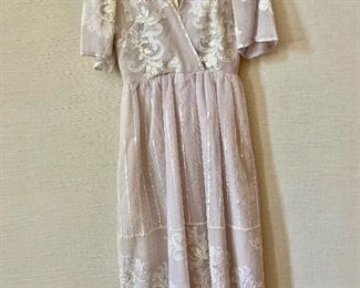 $75 - Vintage blush tulle with appliques and sequins dress.  Estimated size 4.
