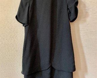 $30 - David Hayes vintage black dress with grosgrain ribbon trim on sides. Size 16.
