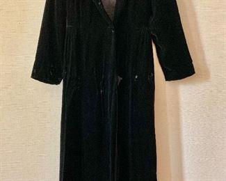 $50 - Black velvet full length hooded coat. Size 11/12.