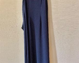 $30 - Nicole Miller triacetate and polyester navy blue sleeveless v neck dress with tieback.  Size 8.