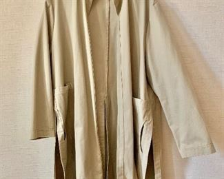 $40 - Tan cotton coat with side slits.  Estimated size 1X.