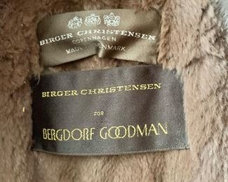 Detail: Burger Christensen for Bergdorf Goodman brown sheared fur lined and trimmed full length raincoat.  Estimated size 1X.