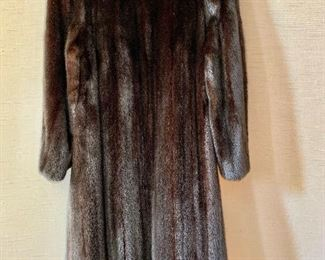 $800 Detail:  Back view.  Revillon (Saks Fifth Avenue) three quarter length mink coat.  Estimated size L.