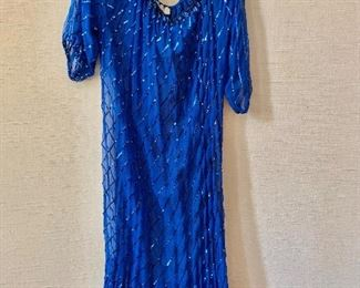 $30 - Swee Lo (New York/St. Thomas) 100% silk blue sequin beach cover-up.  Estimated size 2X.