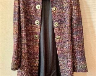 $60 - Kathleen Weir-West (Designer/Weaver) woven fabric multicolored coat.   Size 14.