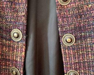 Detail:  Kathleen Weir-West (Designer/Weaver) woven fabric multicolored coat.   Size 14.