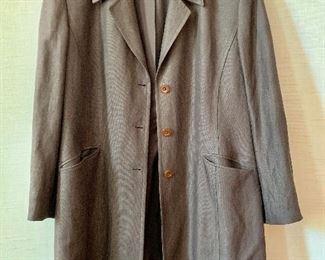 $50 - Linda Allard for Ellen Tracy linen/rayon/wool/mohar chocolate brown coat.  Size 16.