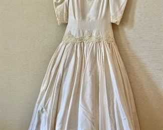 $150 - Ada Attanassiou vintage shantung silk with beading ivory wedding dress.   As is - stain at hem line and on one shoulder  Size 6.