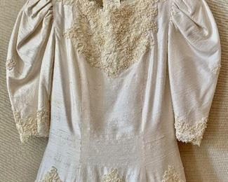 Detail: Ada Attanassiou vintage shantung silk with beading ivory wedding dress.   As is.  Size 6.