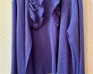 $70 - Roni Rabl acrylic and polyamid fabric deep blue ruffed neck cardigan.  Size L.
