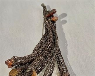 """FIRM $625 FIRM  Carla Reiter knitted silver with heat patinated copper nuggets with a diamond brooch.  4""""L"""