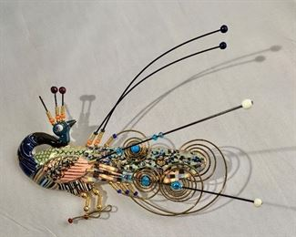 """$90 Jewelry-10 peacock pin.  As is. 4.5""""H x 4.5""""W"""