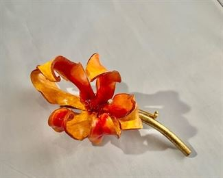 """$95 Fabrice red and yellow lily brooch.  5""""H"""