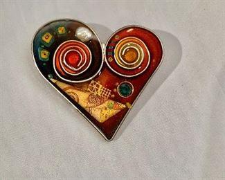 "$20 Heart shaped pin.  2"" x 2"""