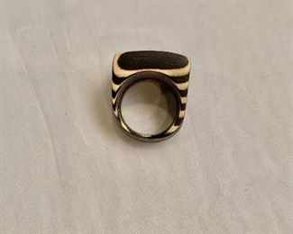 """$30 Detail; Second view.  Wood ring. Top approx. 1""""L x .75""""W"""