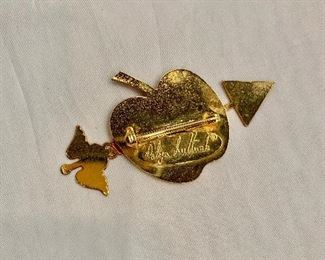 """Detail; Back view. Dalya Luttwak, signed, gold tone and enamel pin. 2.5""""W x 1.5""""H"""