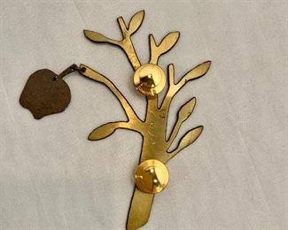 """$18 Detail; Back view. Apple tree bracelet, signed. 3""""L"""