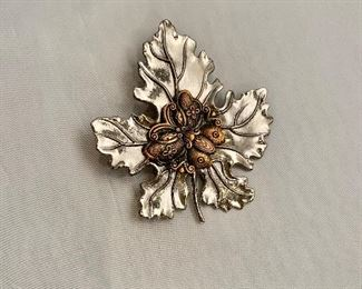 """$18 Silvia Dahl, signed, butterfly and maple leaf fur/scarf dress clip.  Two available. 3""""H x 2.5""""W"""