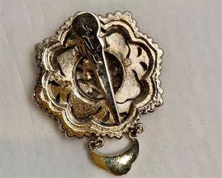 "$14 Detail; Back view. Silvia Dahl, signed, 2000 fur/scarf dress clip. 2.75""H"