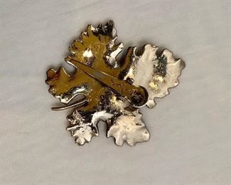 """$18  Detail; Back view. Silvia Dahl, signed, butterfly and maple leaf fur/scarf dress clip.  3""""H x 2.5""""W"""