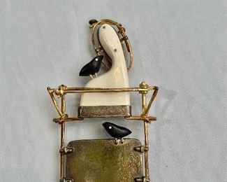 "$1250 Detail; Back view.  Carolyn Morris Bach, signed, 2009, pin. 18K Sterling. 2.75""H x 1.5""W"