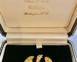 "$50 Detail; Second view. Ann Hand Liberty Eagle pin. 1.75""L"