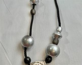 """$65 Resin and wood bead necklace. 24""""L"""