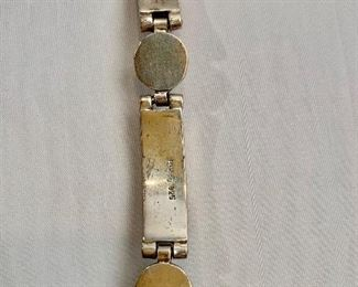 """$115 Detail; Mexican sterling silver with coral colored stone bracelet. 8""""L"""