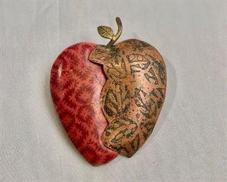 "$40 apple pin. 2""H x 1.5""W"