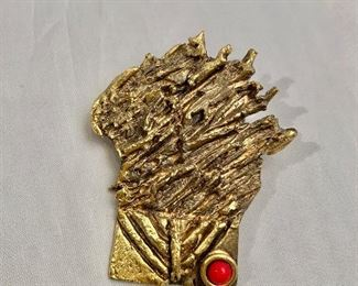 """$30 Reisinger 1978, signed, gold tone """"Burning Bush"""" brooch with red stone.  2.25""""H"""