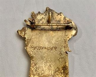 """$30  Detail: Back view.  Reisinger 1978, signed, gold tone """"Burning Bush"""" brooch with red stone.  2.25""""H"""