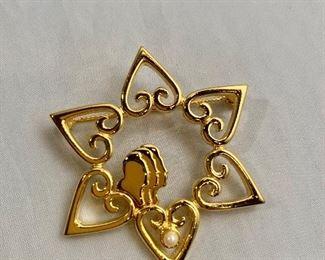 """$20 - Inna Heiman 2007, signed, gold tone brooch. 2""""D"""