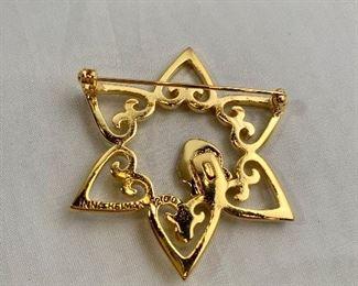 "Detail: Back view.  Inna Heiman 2007, signed, gold tone brooch. 2""D"