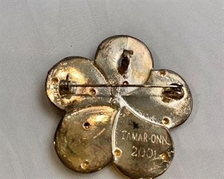 "$30 Detail: Back view.  Tamar Onn 2001 Israeli Flower Judaic Pin Brooch.  One of two.  2""D"