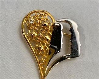 """$25 Tal Salomon, signed, gold and silver tone and rhinestone heart and face  pendant/brooch. 2""""H x 1.5""""W"""