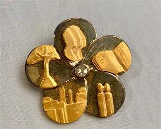 "$30 Tamar Onn 2001 Israeli Flower Judaic Pin Brooch.  Two of two.  2""D"