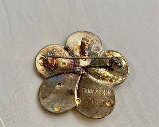 "$30 Detail: Back view.  Tamar Onn 2001 Israeli Flower Judaic Pin Brooch. Two of two. 2""D"