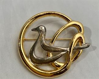 """$8 Kobi Ariel Studios Dove, signed, gold and silver tone and rhinestone dove brooch.   Two of two.  2.25""""D"""