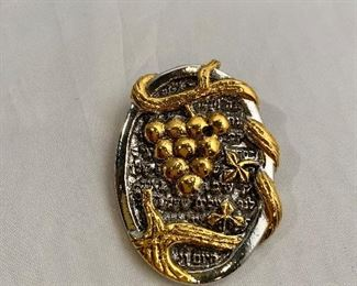 """$20 - Frank Meisler (Israel), signed, gold and silver tone pin.  2""""L"""