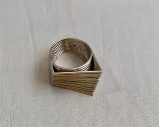 $490 18K gold architectural ring.  Hallmarked. Approximate size 5.5