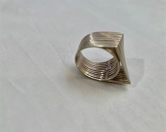 $490 Detail; 18K gold architectural ring.  Hallmarked. Approximate size 5.5