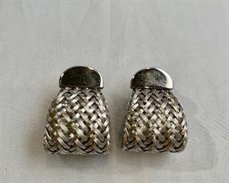 """$30 Silver tone basket weave pierced earrings. 1""""L"""